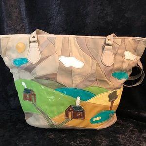Vintage patchwork purse farm house tree scene